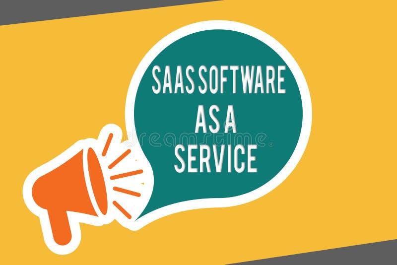 Схематическое сочинительство руки показывая программное обеспечение Saas как обслуживание Текст фото дела польза облака основал A иллюстрация штока