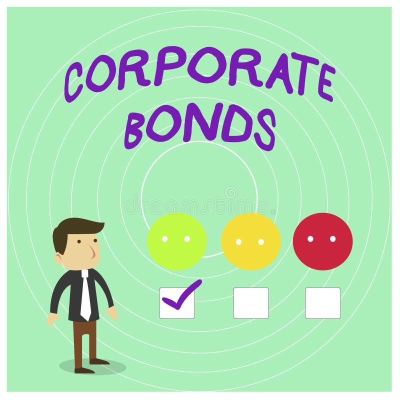 Схематическое сочинительство руки показывая промышленные облигации Корпорация фото дела showcasing для того чтобы поднять финанси иллюстрация вектора