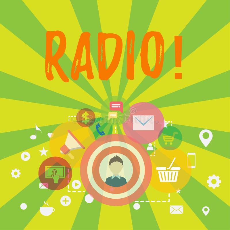 Схематическое сочинительство руки показывая радио Радиотехническая аппаратура текста фото дела используемая для слушать передачи иллюстрация штока