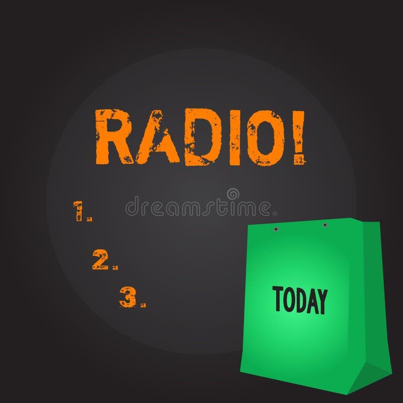 Схематическое сочинительство руки показывая радио Радиотехническая аппаратура фото дела showcasing используемая для слушать перед иллюстрация вектора