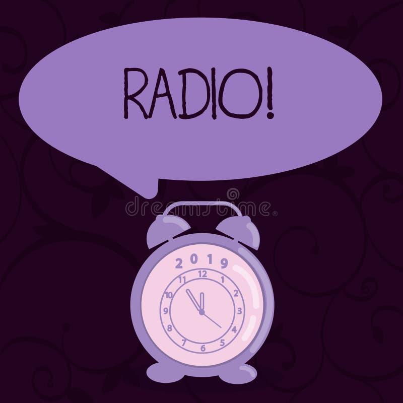 Схематическое сочинительство руки показывая радио Радиотехническая аппаратура текста фото дела используемая для слушать передачи иллюстрация вектора