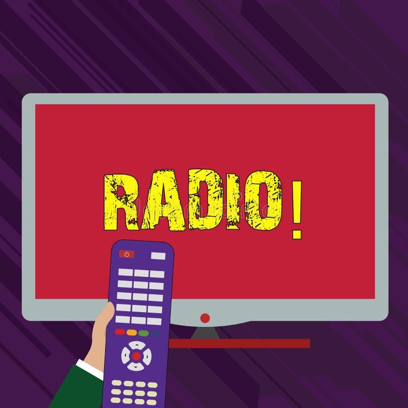 Схематическое сочинительство руки показывая радио Радиотехническая аппаратура текста фото дела используемая для слушать передачи бесплатная иллюстрация