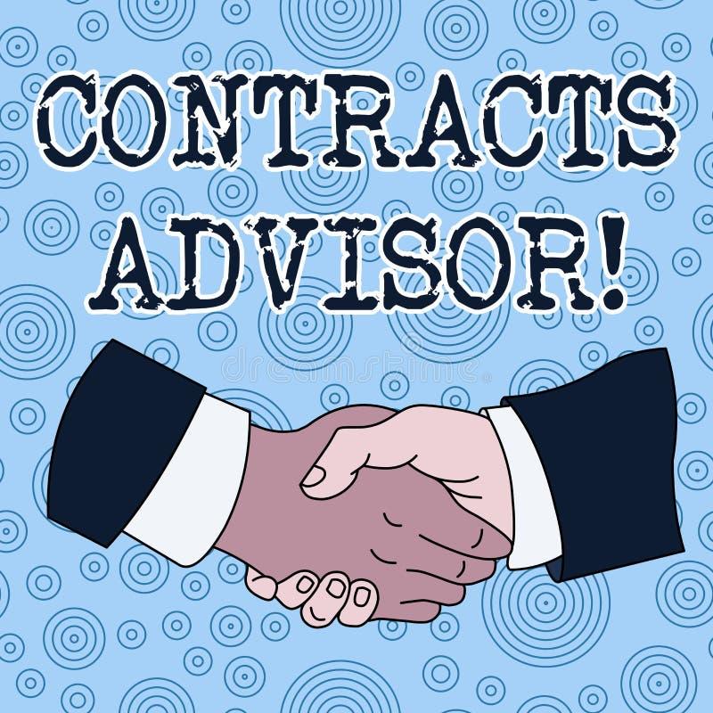Схематическое сочинительство руки показывая советника контрактов Текст фото дела обеспечивает принуждение определенной поставки бесплатная иллюстрация