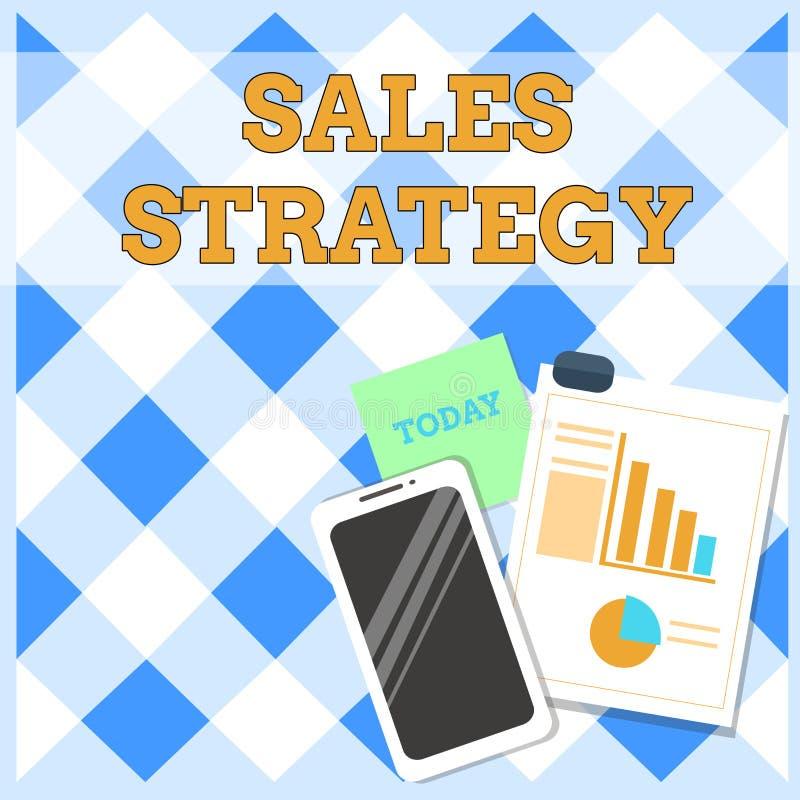 Схематическое сочинительство руки показывая стратегию продаж План текста фото дела для достигать и продавать к вашему целевому ры иллюстрация вектора