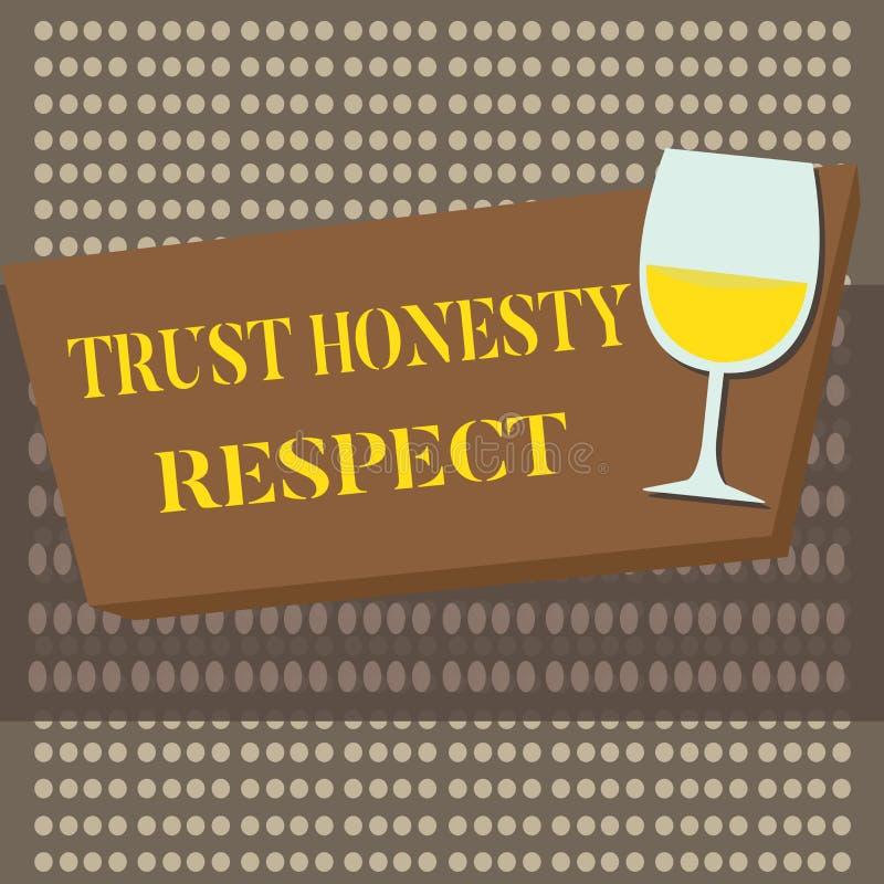 Схематическое сочинительство руки показывая уважение честности доверия Черты текста фото дела респектабельные фасетка хорошей нра иллюстрация вектора