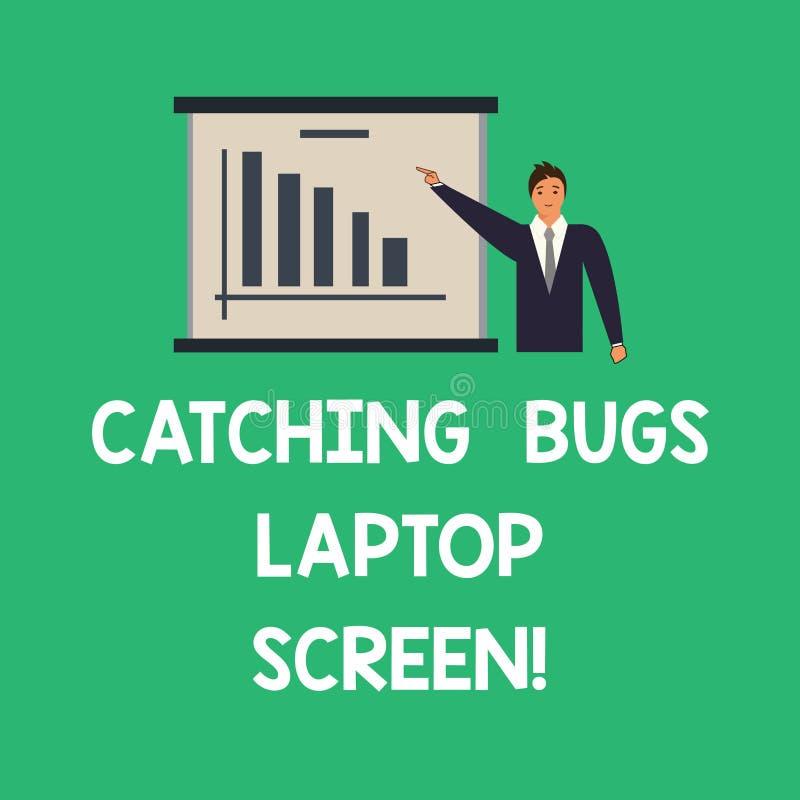 Схематическое сочинительство руки показывая улавливая экран ноутбука ошибок Безопасность предохранения от компьютерной системы те бесплатная иллюстрация