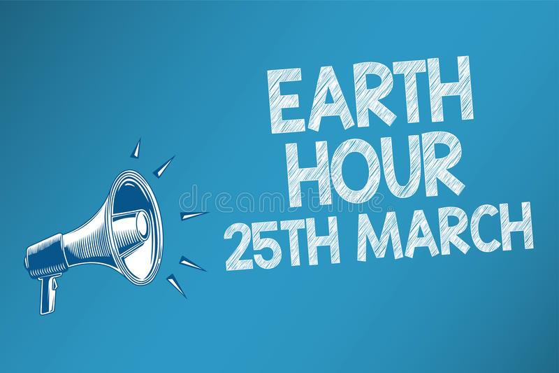 Схематическое сочинительство руки показывая час 25-ое марта земли Обязательство символа текста фото дела к планете организовало в иллюстрация вектора