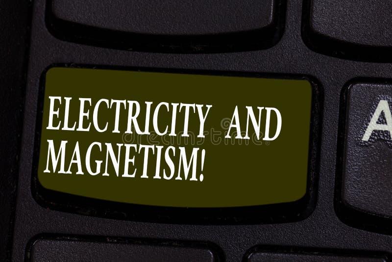 Схематическое сочинительство руки показывая электричество и магнетизм Showcasing фото дела овеществляет одиночную электромагнитну стоковое изображение