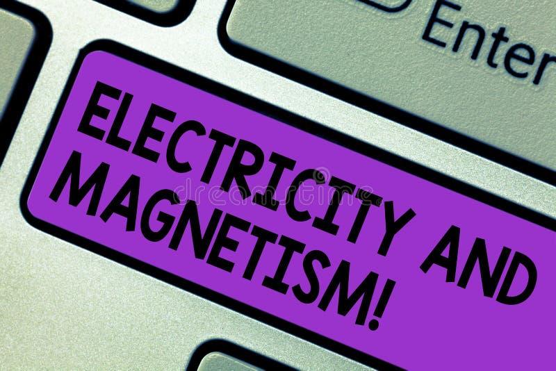 Схематическое сочинительство руки показывая электричество и магнетизм Текст фото дела овеществляет одиночную электромагнитную сил стоковые изображения rf