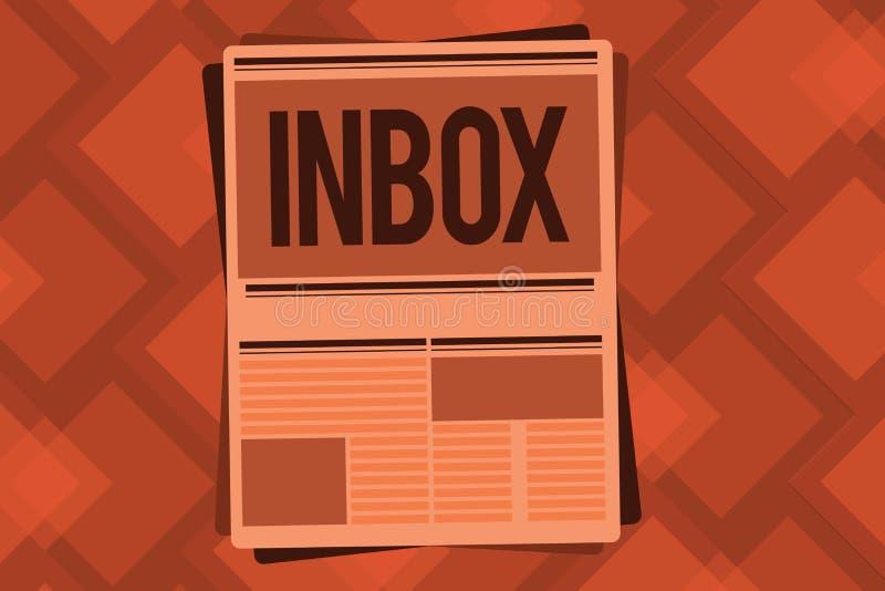 Схематическое сочинительство руки показывая ящик входящей почты Папка текста фото дела электронная в которой электронные почты по иллюстрация вектора