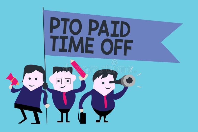 Схематическое сочинительство руки показывая Pto оплатило время  Работодатель текста фото дела дарует компенсацию на личные праздн иллюстрация вектора
