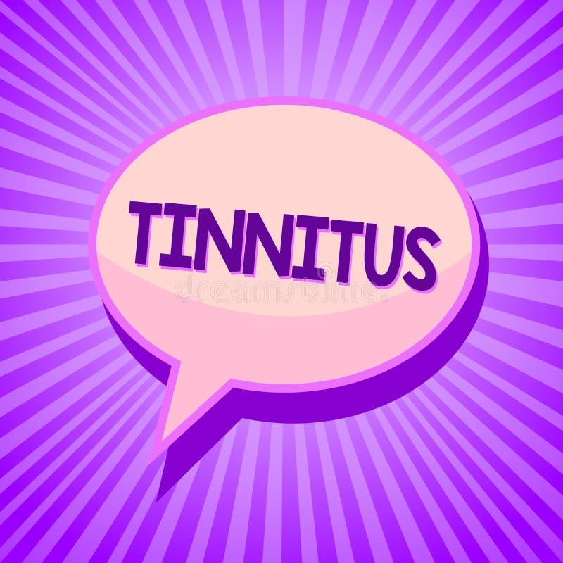 Схематическое сочинительство руки показывая Tinnitus Текст звенеть a фото дела или музыка и подобное ощущение звука в bub речи уш иллюстрация вектора