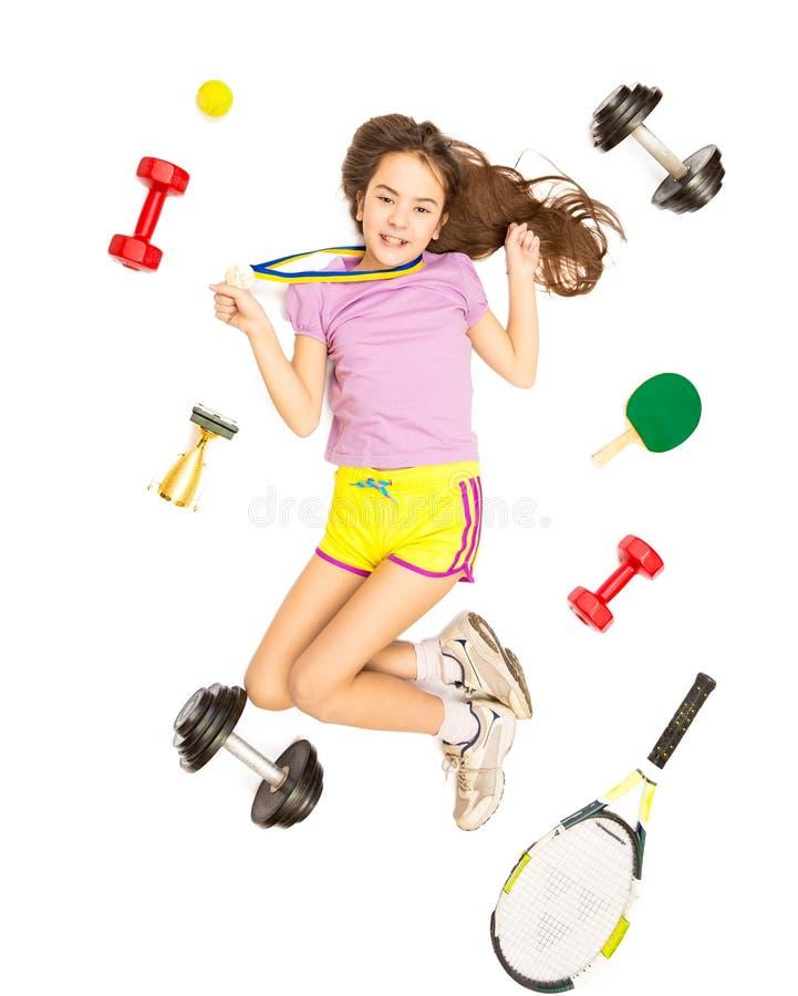 Схематическое фото девушки при медаль представляя с оборудованием спорта стоковые изображения rf