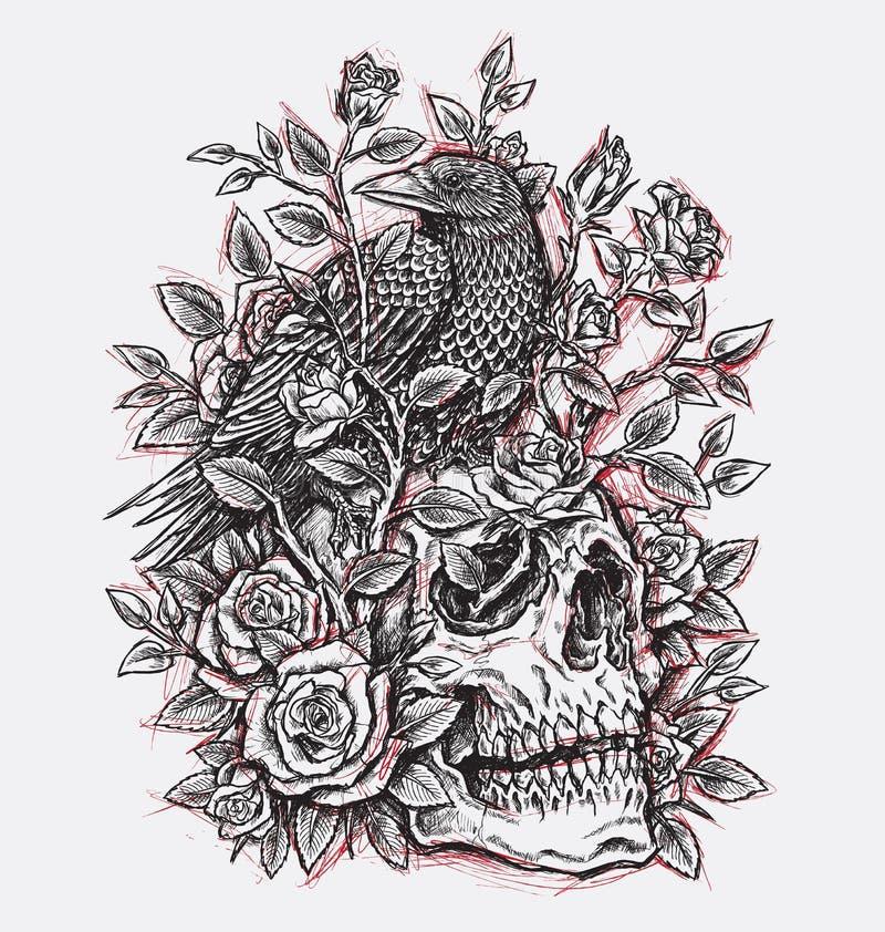 Схематичная ворона, розы и Linework дизайна татуировки черепа иллюстрация вектора