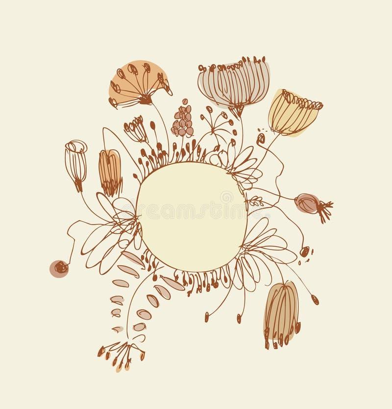 Схематичное знамя с круглой рамкой и место для вашего текста Винтажная поздравительная открытка шнурка с цветками и ягодами стран иллюстрация вектора