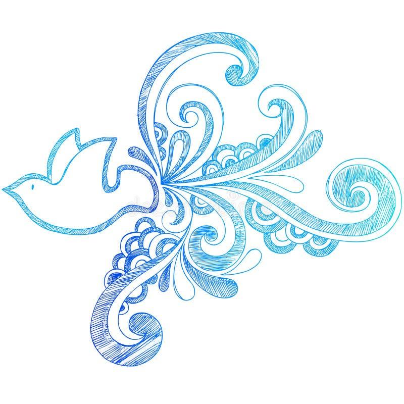 схематичное тетради dove doodle мирное бесплатная иллюстрация