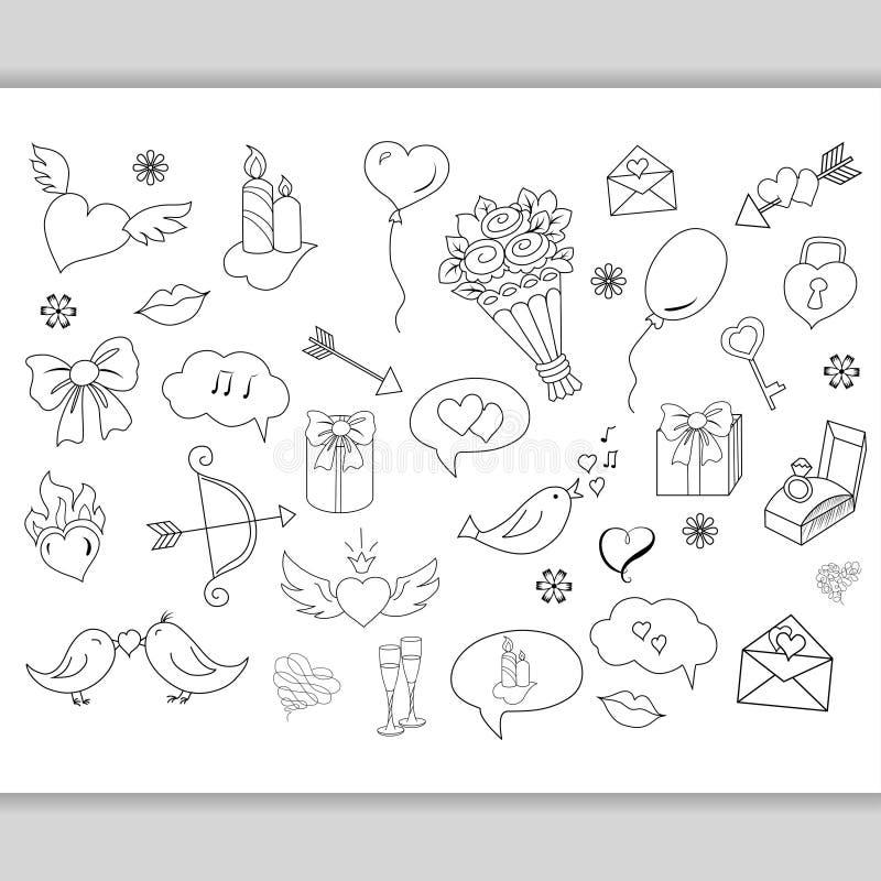 Схематичной влюбленность нарисованная рукой doodles объекты иллюстрация вектора