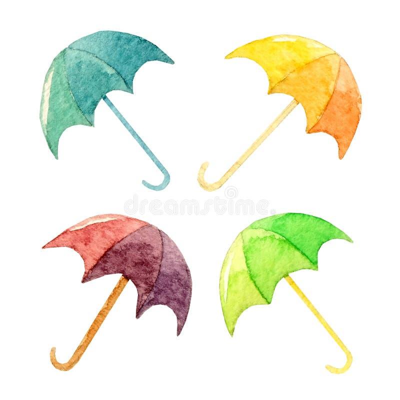 Схематичной нарисованный рукой комплект акварели красочных зонтиков на белизне иллюстрация штока