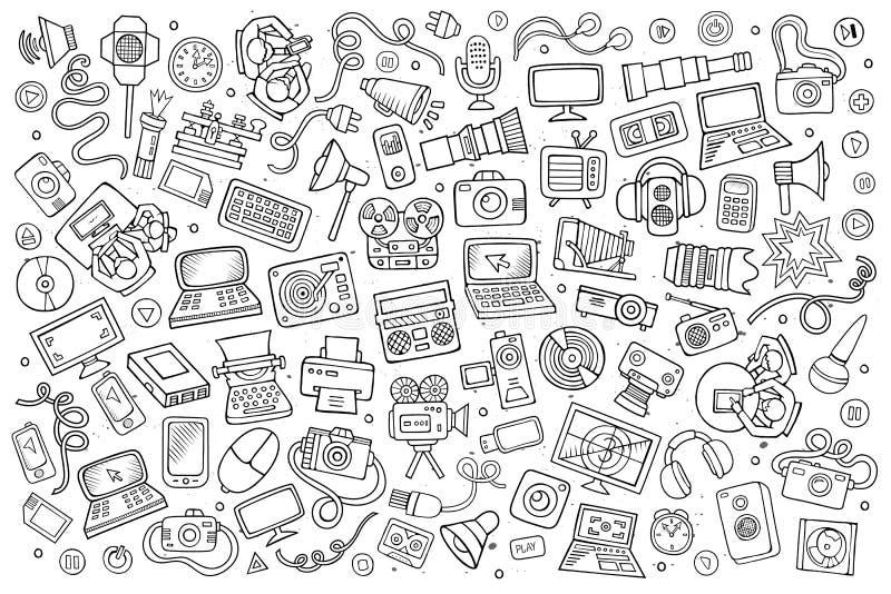 Схематичной оборудование Doodle вектора нарисованное рукой и бесплатная иллюстрация