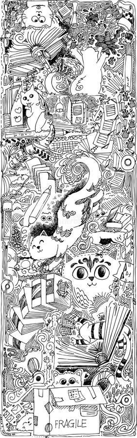 Схематичные коты doodles в офисе иллюстрация штока