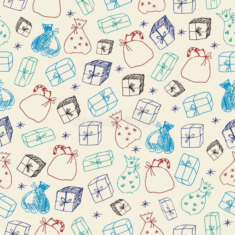 Схематичные подарки картина безшовная иллюстрация штока