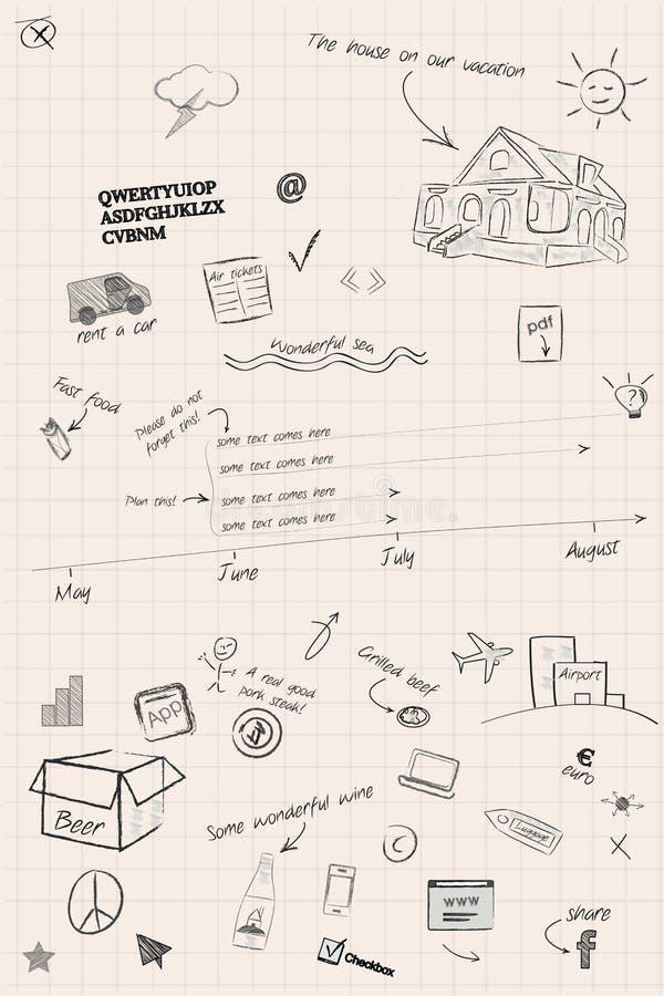 Схематичные примечания срока и планирования бесплатная иллюстрация