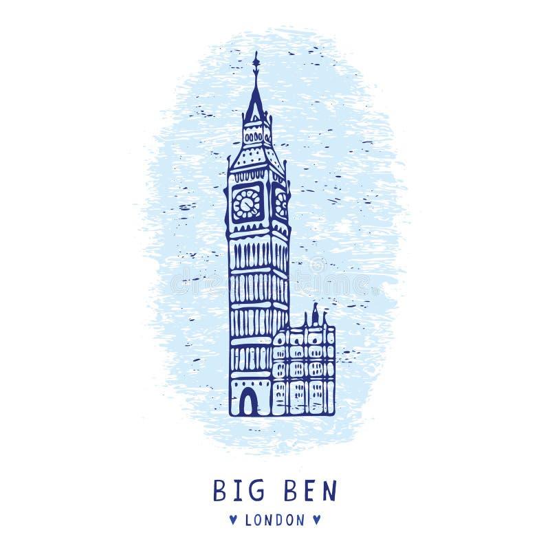 Схематичный набор элементов clipart перезвона башни с часами Лондона большого Бен известно иллюстрация штока