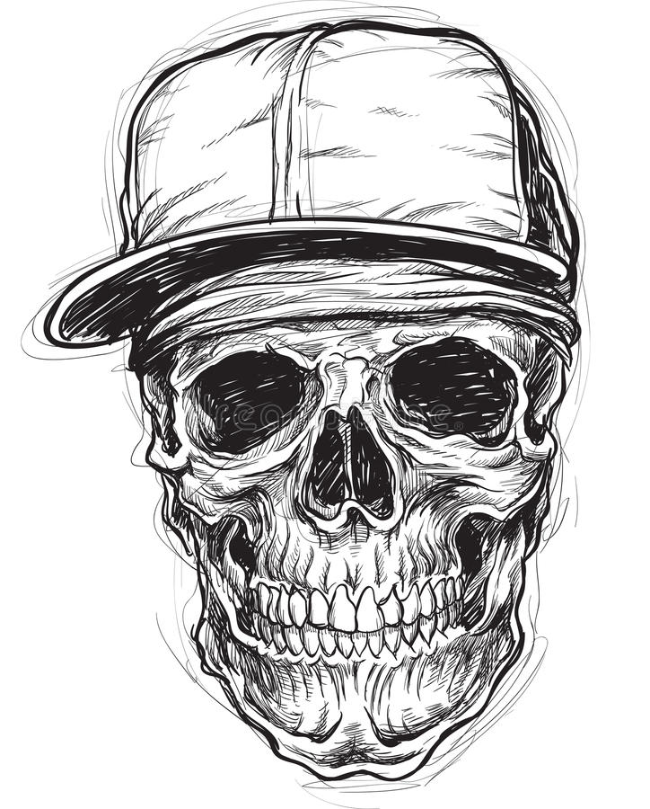 Схематичный череп с крышкой и Bandana бесплатная иллюстрация