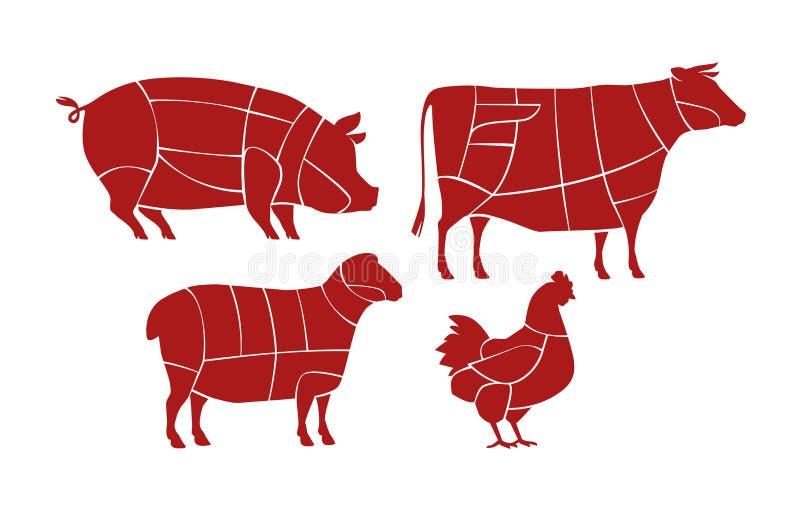 Схема вырезывания мяса Концепция мясной лавки Вектор животноводческих ферм иллюстрация вектора