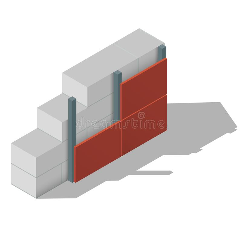 Схема газированной бетонной стены иллюстрация штока