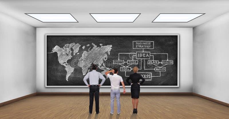 Схема дела и карта мира на борту стоковые изображения rf