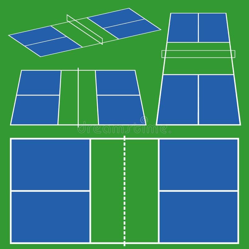 Схема игры суда Pickleball иллюстрация штока