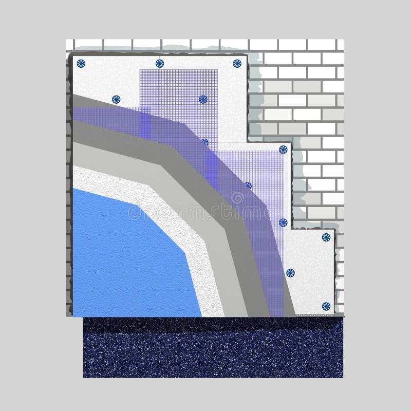 Схема изоляции 3d стены полистироля бесплатная иллюстрация