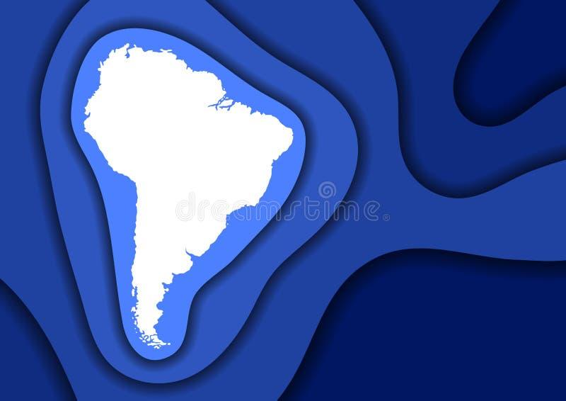 Схема конспекта карты Южной Америки от голубого отрезка 3D бумаги слоев развевает и затеняет одно над другим План для знамени, пл иллюстрация штока