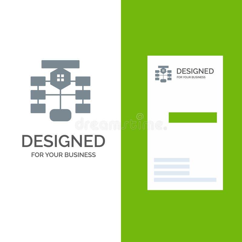 Схема технологического процесса, подача, диаграмма, данные, дизайн логотипа базы данных серые и шаблон визитной карточки иллюстрация вектора