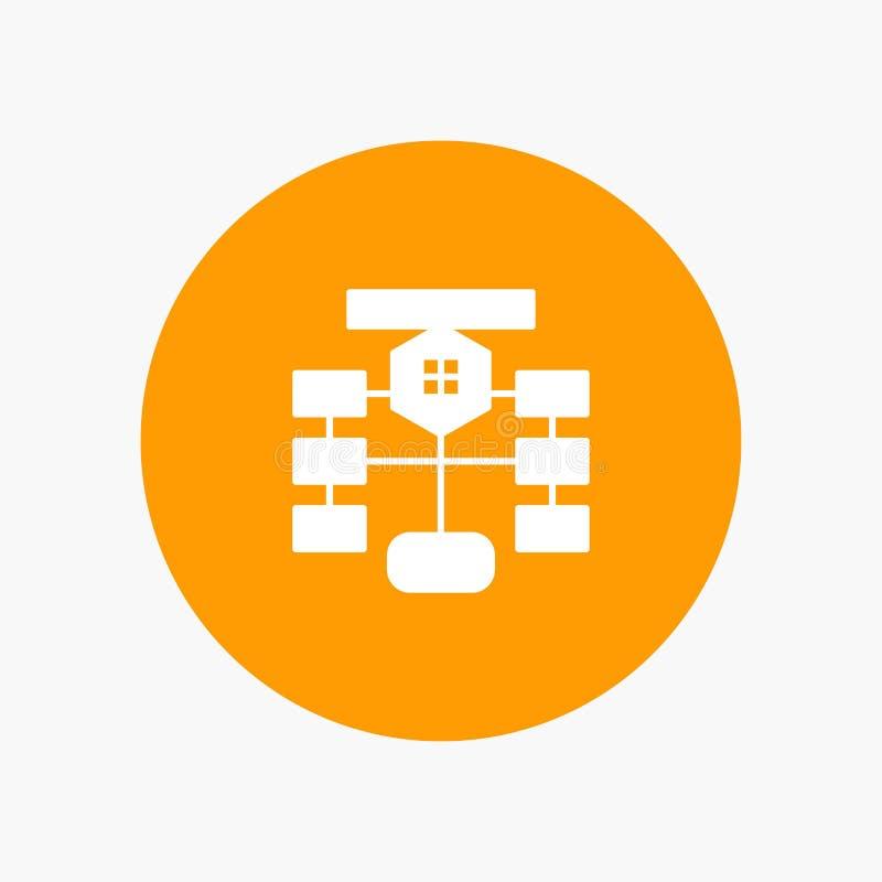 Схема технологического процесса, подача, диаграмма, данные, значок глифа базы данных белый иллюстрация вектора