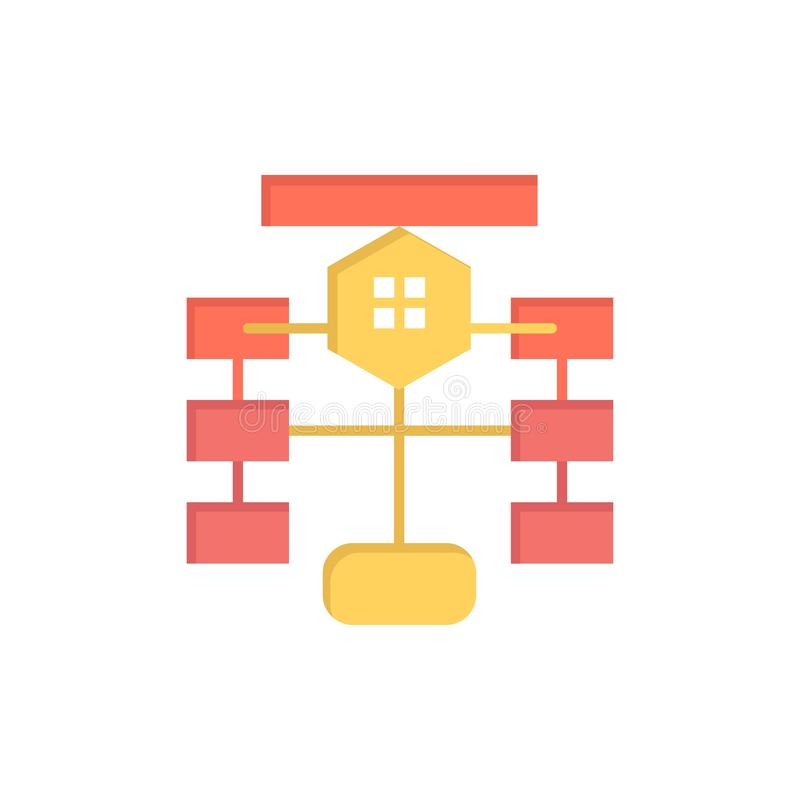 Схема технологического процесса, подача, диаграмма, данные, значок цвета базы данных плоский Шаблон знамени значка вектора иллюстрация штока