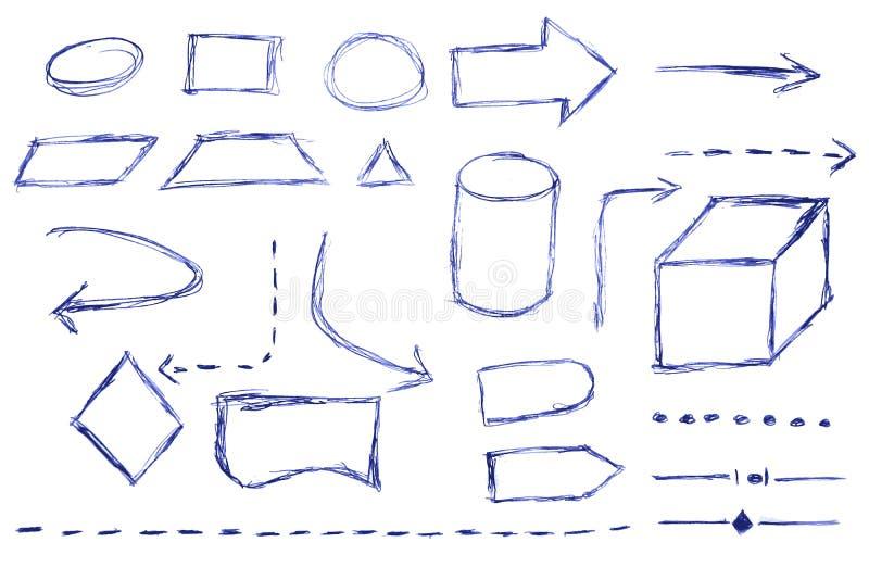 Схема технологического процесса - голубая ручка иллюстрация вектора