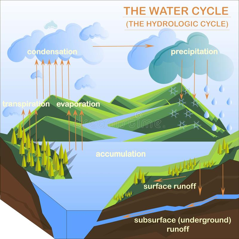 Схема цикла воды, квартиры конструирует иллюстрацию вектора иллюстрация штока