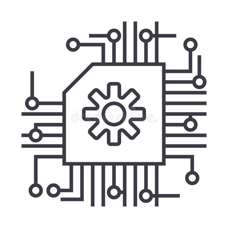 Схема, ai, линия значок вектора искусственного интеллекта, знак, иллюстрация на предпосылке, editable ходах иллюстрация вектора