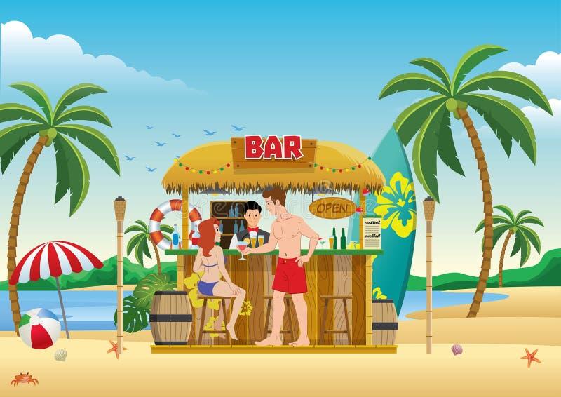 Сход людей на баре пляжа иллюстрация штока