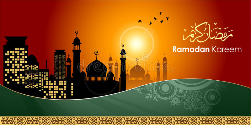 сценарий арабского месяца kareem приветствиям приветствию карточки святейшего исламского ramadan иллюстрация штока