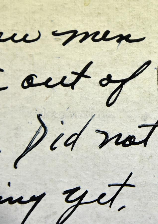 Сценарий винтажного почерка античный на открытке стоковые фото