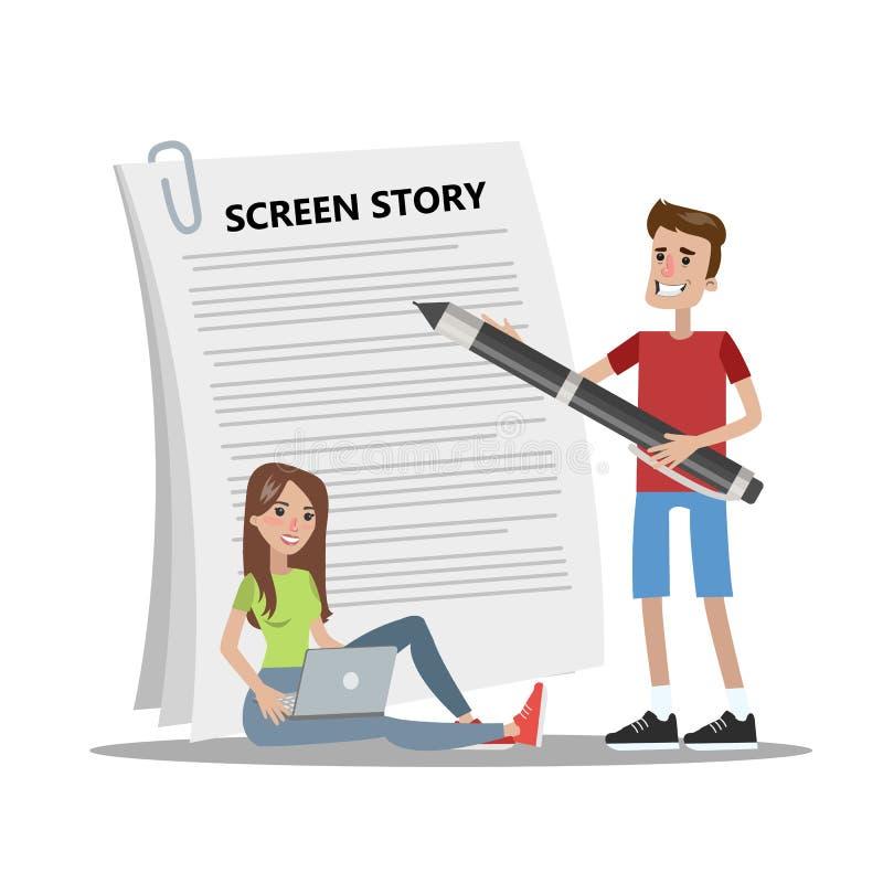 Сценарий для видео- блога бесплатная иллюстрация