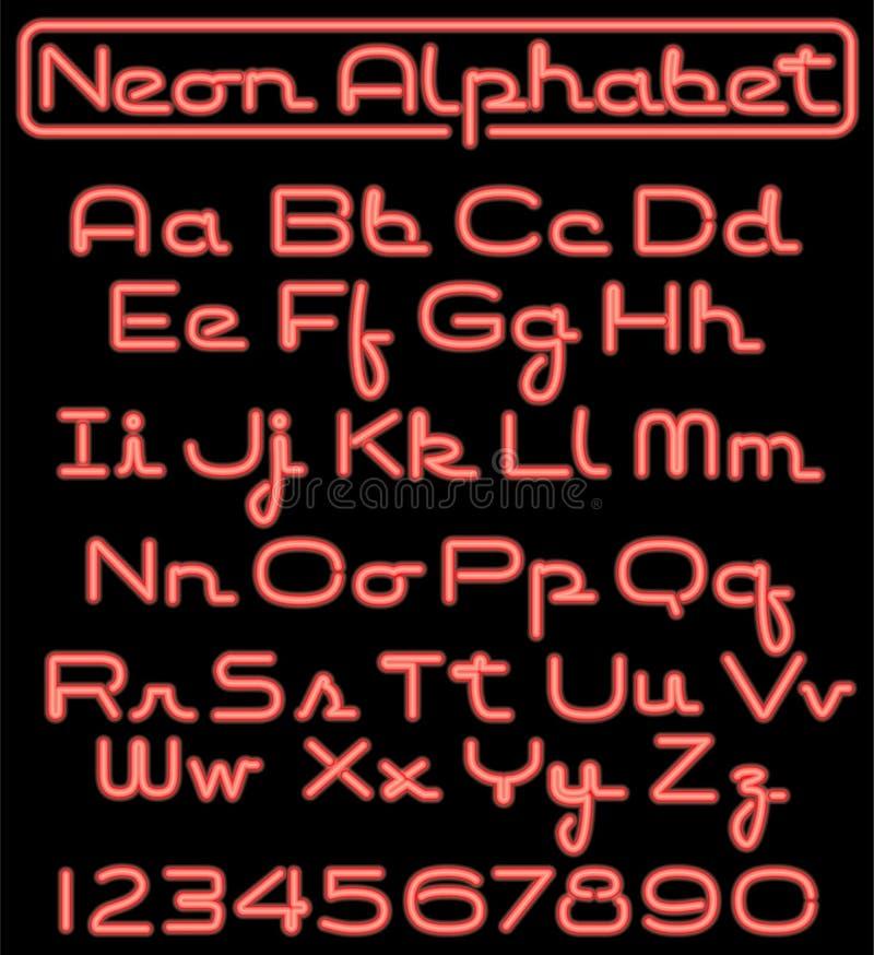 сценарий неона eps алфавита иллюстрация вектора