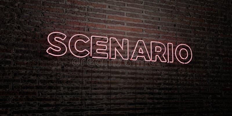 СЦЕНАРИЙ - реалистическая неоновая вывеска на предпосылке кирпичной стены - представленное 3D изображение неизрасходованного запа бесплатная иллюстрация