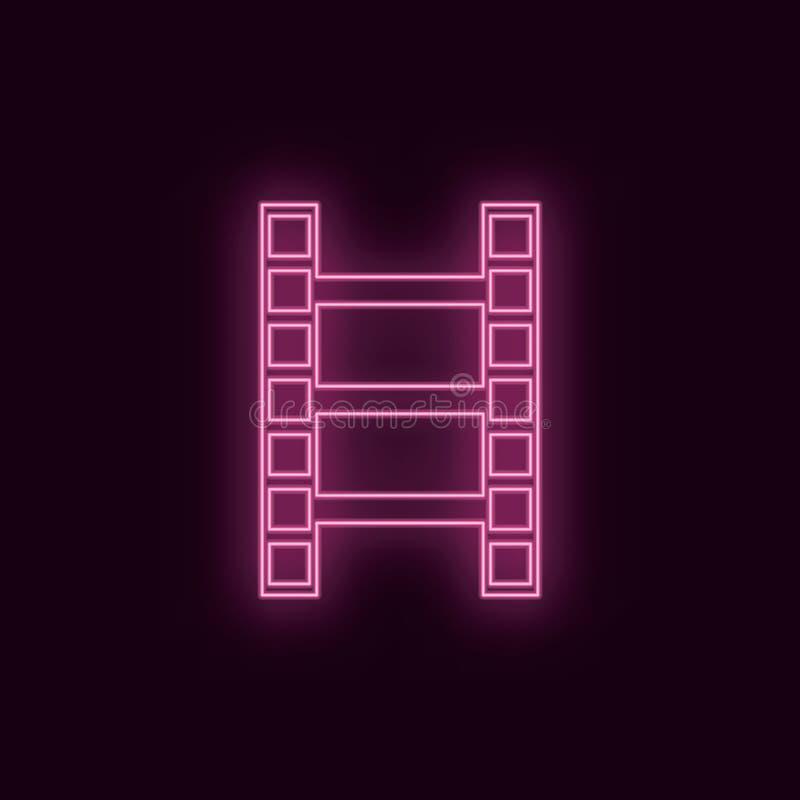 Сценарий фильма, неоновый, значок r r иллюстрация вектора
