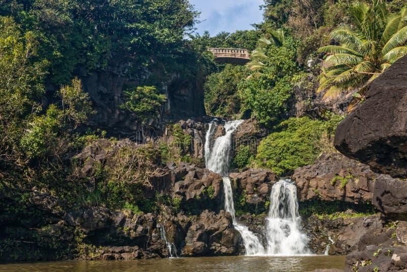 Сценарные 7 священных бассейнов Гана Мауи стоковая фотография rf