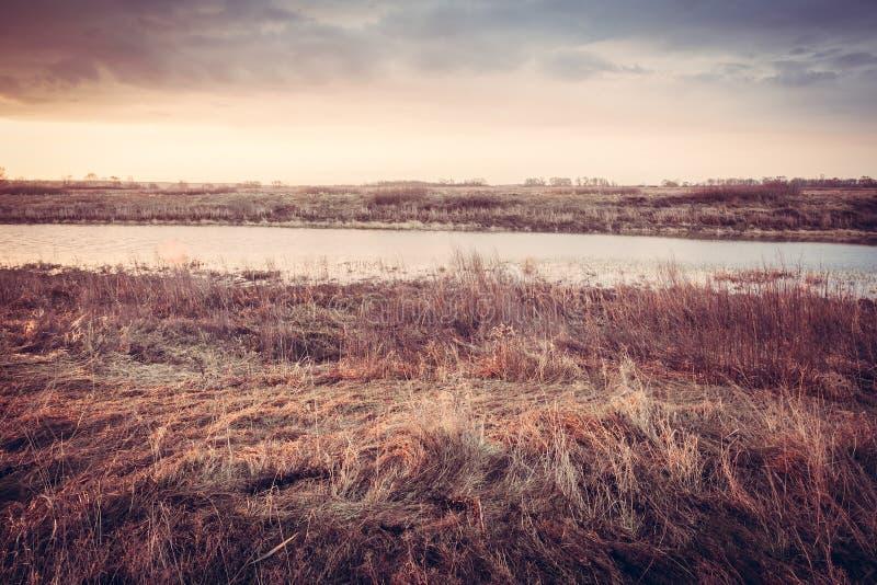 Сценарный ландшафт осени во время рассвета на речном береге в сельском поле стоковое фото rf