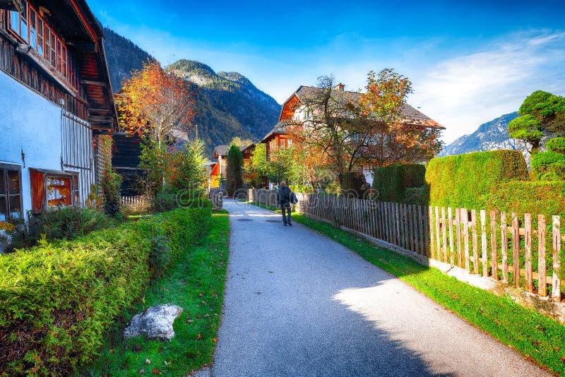 Сценарный взгляд известного viilage Hallstatt Типичное австрийское высокогорное стоковые изображения
